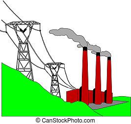 wysoki dostarczą energii elektrycznej, słup, kreska, napięcie elektryczne