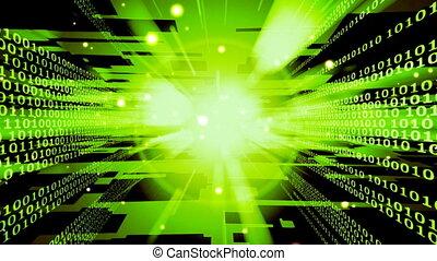wysoki, dwójkowy, tech, zielony, pętla