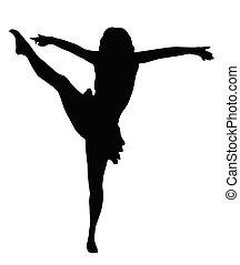 wysoki, dziewczyna, kopnąć, taniec