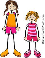 wysoki, dziewczyna, krótki, /