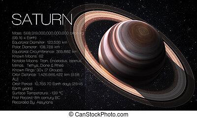 wysoki, elementy, patrzeć, dostarczony, to, planeta, wizerunek, -, system, nasa., jeden, przedstawia się, infographic, słoneczny, saturn, rozkład, facts.
