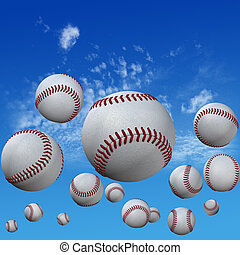 wysoki, komplet, chmura nieba, baseball