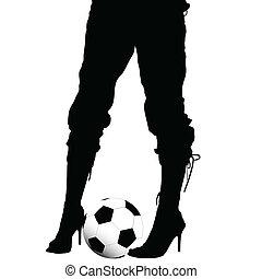 wysoki korek, nogi, obuwie, samica