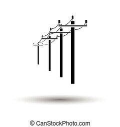 wysoki, kreska, napięcie elektryczne, ikona