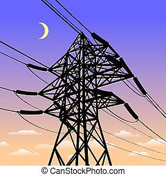 wysoki, kreska, zachód słońca, napięcie elektryczne, moc