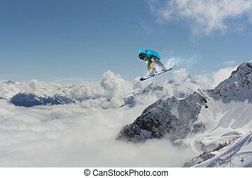 wysoki, kroki, góry., snowboarder