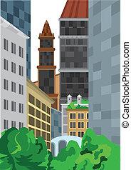 wysoki, krzaki, zabudowanie, zielony, rysunek