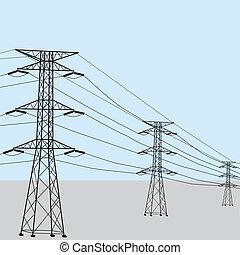 wysoki, kwestia, napięcie elektryczne, moc
