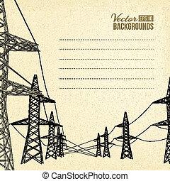 wysoki, lines., napięcie elektryczne, moc