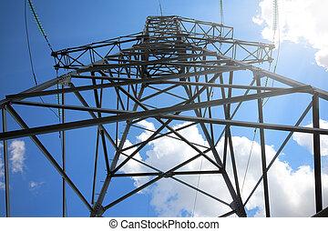wysoki, maszt, niebo, elektryczny, przeciw