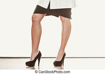 wysoki, nogi, kobieta, closeup, heels.