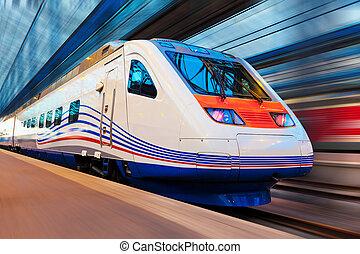 wysoki, nowoczesny, ruch, pociąg, plama, szybkość