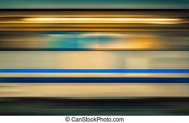 wysoki, pociąg, dynamiczny, ruch, stacja, plama, szybkość