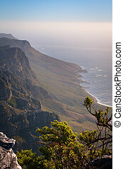 wysoki, prospekt góry, coastline, ocean