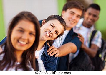 wysoki, studenci, szkoła, grupa, figlarny