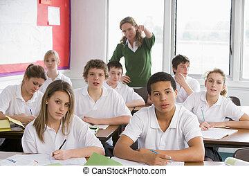 wysoki, studenci, szkoła klasa