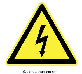 wysoki woltaż, żółty, ostrzeżenie