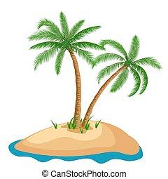 wyspa, dłoń drzewo, odizolowany, tło