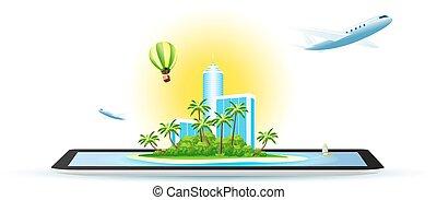 wyspa, hotel, nowoczesny, dłoń, zielony