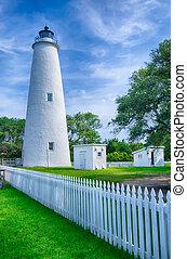 wyspa, latarnia morska, keeper's, mieszkanie, ocracoke