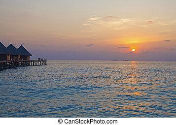 wyspa, maldives., ocean, sunset.