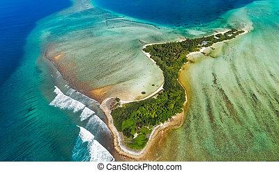 wyspa, nad, malediwy, odizolowany