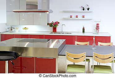 wyspa, nowoczesny, dom, wewnętrzny, srebro, czerwony, kuchnia