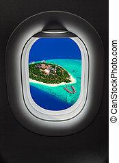 wyspa, okno, malediwy, samolot, tropikalny