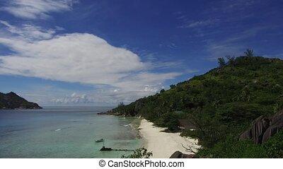 wyspa, plaża, w, indyjski ocean, na, seychelles