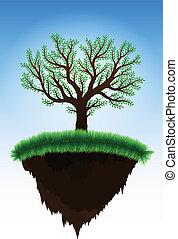 wyspa, ruchomy, drzewo