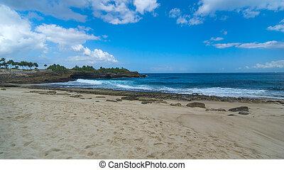 wyspa, słoneczny, asian, plaża, dzień, piaszczysty