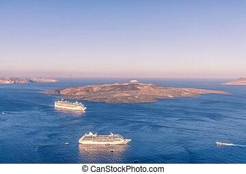 wyspa, statek, wulkan, santorini, rejs