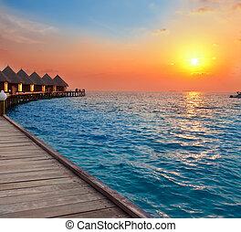 wyspa, zachód słońca, maldives., ocean