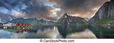 wyspy, lofoten, panorama.