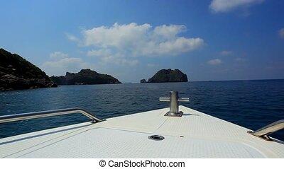 wyspy, speedboat, nawigacja, ocean