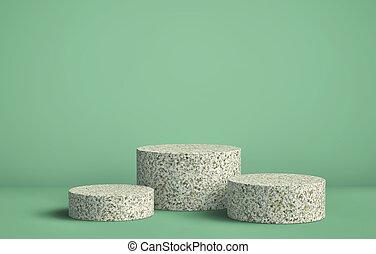 wystawa, pastel, stać, podium, tło, kamień, walec, produkt, ...