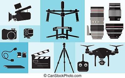 wystrzelić, komplet, kino, długość mierzona w stopach, wektor, soczewka, wyposażenie, aparat fotograficzny, fotografia, technologia ilustracji, za