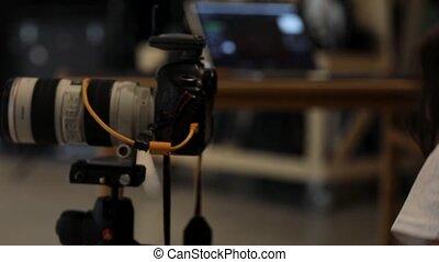 wystrzelić, sprytny, mały, fotografia, patrząc, aparat ...