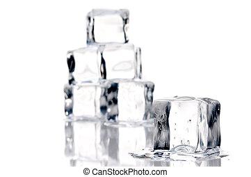 wytop, kostki, do góry, lód, powierzchnia, zamknięcie, relective