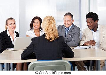 wywiad, kobieta, samica, posiedzenie