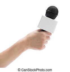 wywiad, mikrofon, dzierżawa ręka