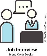 wywiad, mono, praca, kolor, ilustracja