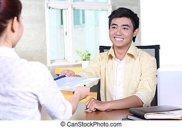 wywiad, praca, asian handlowy, człowiek