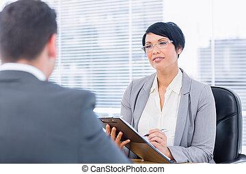 wywiad, praca, kontrola, podczas, rekrut, kandydat