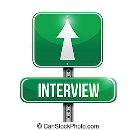 wywiad, projektować, droga, ilustracja, znak