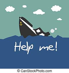 wywrócony, łódka