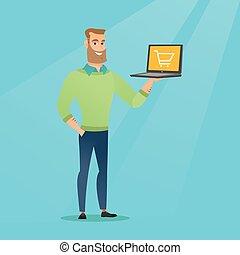 wywrotka, laptop, screen., dzierżawa, człowiek