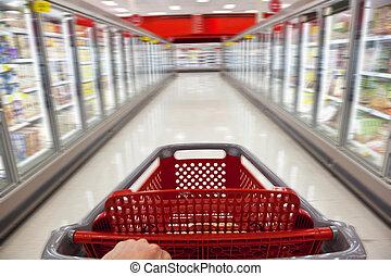 wywrotka, pojęcie, zakupy, jadło, mocny ruch, supermarket, ...