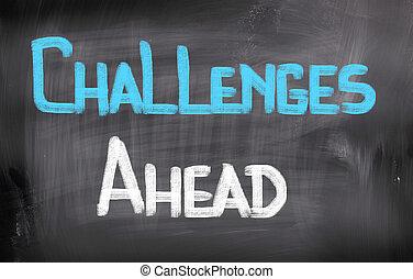 wyzwania, na przodzie, pojęcie