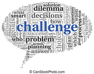 wyzwanie, pojęcie, słowo, chmura, skuwka